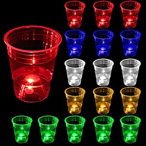24pcs Glow in the Dark Party Cups for Indoor Outdoor Party,16oz Glowing Party Cups Have 5 Bright Colors (Blue,Red,Orange,Green&White),Suitable for Night or Day,party game,Neon Party,Holidays,BBQ from orzsunny