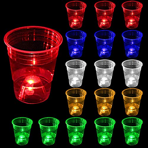 24pcs Glow in the Dark Party Cups for Indoor Outdoor Party,16oz Glowing Party Cups Have 5 Bright Colors (Blue,Red,Orange,Green&White),Suitable for Night or Day,party game,Neon Party,Holidays,BBQ
