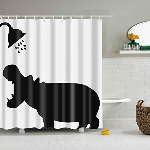 GWELL Lustig Duschvorhang Wasserdicht Anti-Schimmel Anti-Bakteriell für Badezimmer 180x200cm Nilpferd