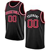 giftwell Custom Men's Basketball Jerseys Make Your Own Jersey Sports Shirts Stitched Personalized Team Name and Number (Red Black)