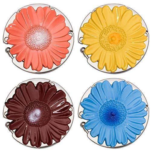 WIWAPLEX - Juego de 4 ganchos plegables para bolsos de mano, de metal, para mujer, para colgar en la oficina, restaurante, computadora, multicolor/fantasía (SUN-FLOWER)