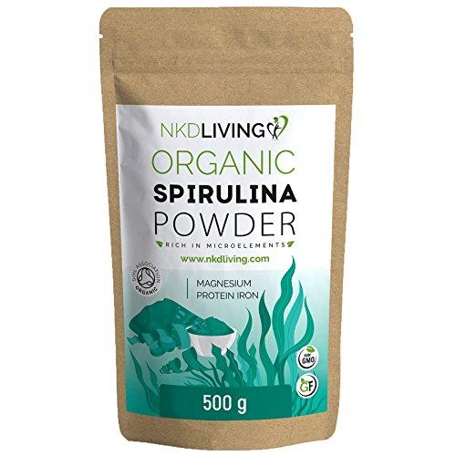Poudre de Spiruline BIO 500g | Association des sols certifiée biologique | Testé pour les métaux lourds, les micro-organismes et plus de 500 pesticides
