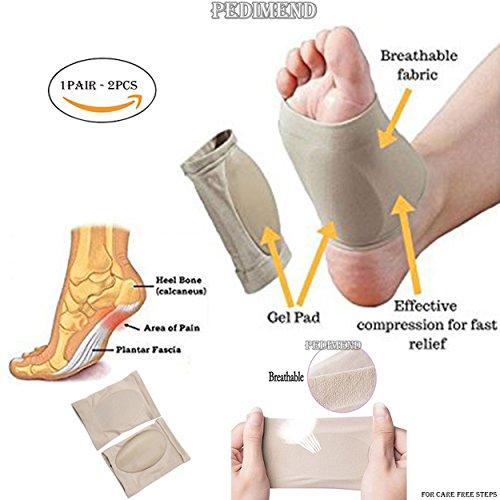 pedimendtm silicona Gel fascitis plantar arco del pie apoyo manga (1Pair) puentes caídos apoyo fascitis Plantar – Vendaje elástico para terapia de mejora la circulación de la sangre Foot Care