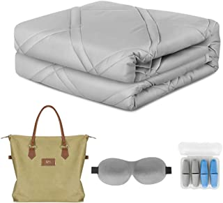 Cooling Weighted Blanket 100% Chilled Bamboo (60''x80'' 15lbs Queen Size Comfort) with Glass Beads Perfect for Warmer Climates, Eco-Friendly and Sustainable Fabric, Enjoy Quality Sleep Anywhere, Grey