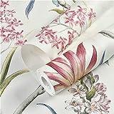 Papel pintado vintage con diseño floral para sofá, papel pintado para dormitorio, color blanco