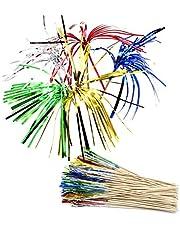 YapitHome 100 Palillos Decorativos 130mm Palitos de Cóctel para Decoración de Pasteles, Frutas, Artículos para Fiestas, Decoración Navideña(Color Aleatorio)