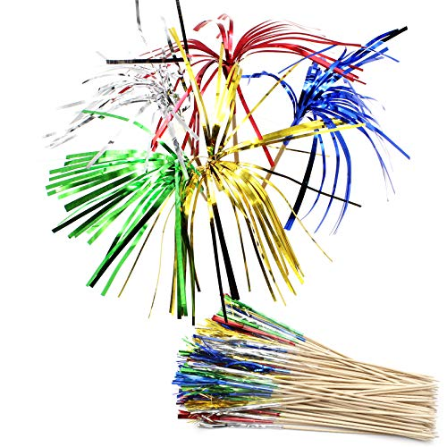 YapitHome 100 Pcs 22cm Fireworks Cocktail Sticks Palm Tree Cocktail Used for Cakes Decoration Bars Drink Party Supplies