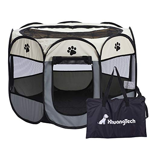 XianghuangTechnology Soft Fabric Portable Foldable Pet Dog Cat Puppy Playpen, Indoor/Outdoor use Pet...