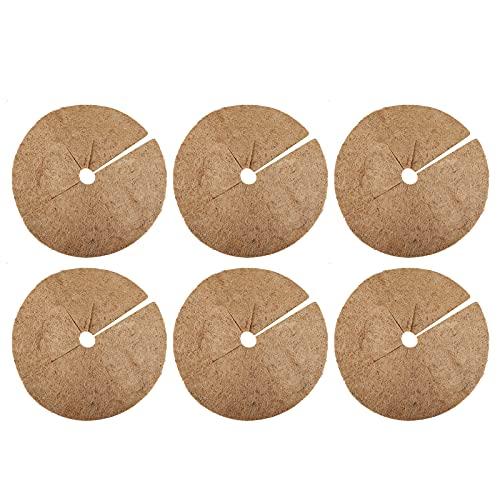 ALXFFBN 6 anillos de mantillo de coco de 20,3 cm, reversibles, para árbol de coco y coco, cubierta natural de plantas para control de malas hierbas y protección de raíces