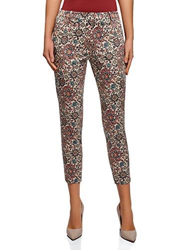 oodji Collection Mujer Pantalones de Algodón Estrechos, Multicolor, E