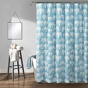 """Lush Decor, Aqua Elephant Parade Shower Curtain, 72"""" x 72"""""""