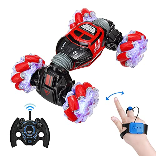 Powerextra Remote Control Car, 4WD 2.4GHz Rc Stunt Car, Watch Gesture Sensor Car, Double Sided Rotating Off Road Vehicle 360° Flips with 2 Batteries, Toy Cars for Boys & Girls Birthday - Red