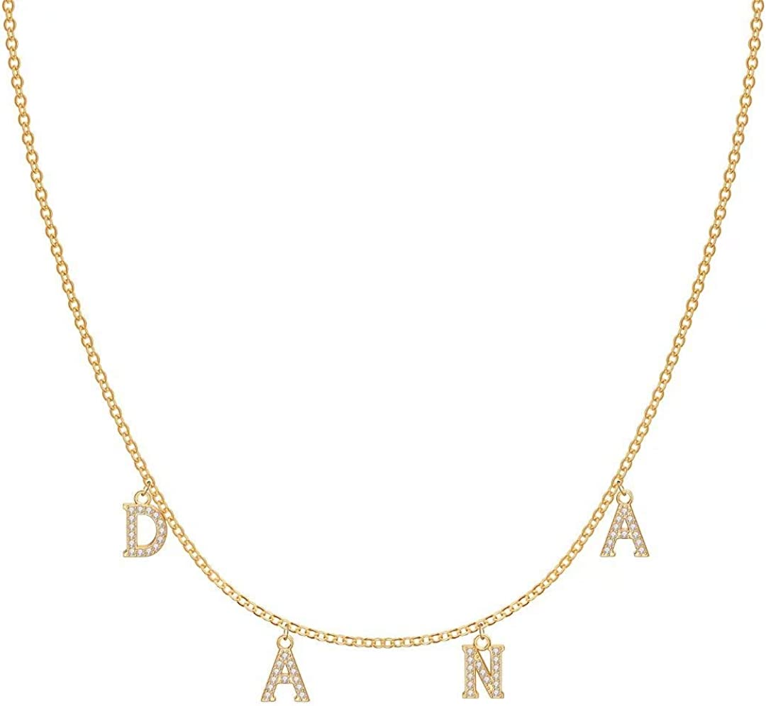 IEFRICH Custom Name Necklace Personalized, 14K Gold Plated Cubic Zirconia Dainty Name Necklaces Customized Jewelry Personalized Gifts for Women Teen Girls Friends Birthday