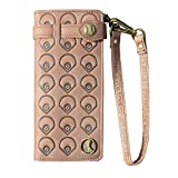 BaseballFan Super Quality New Vintage Cowhide Baseball Glove Leather Wallet with Centre Filed Pattern Wristlet Bag RFID Blocking Wallet in Gift Box for Lady's Gift