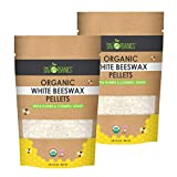 Sky Organics Organic White Beeswax Pellets 100% Pure USDA Organic Bees Wax Pesticide-Free Triple Filtered, Easy Melt Beeswax Pastilles for DIY Candles Skin Care Lip Balm, 1lb (Pack of 2)