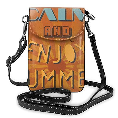 Women Mini Purse Crossbody of Cell Phone,Grunge Retro Enjoy Summer Lettering Sun Beams