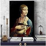 Cuadros Decoracion Salon La Famosa Pintura de Leonardo da Vinci Una Mujer sosteniendo un póster de Arte de Rata Plateada en la Pared Lienzo decoración del hogar 15.7x19.7in (40x50cm) x1pcs Sin Marco