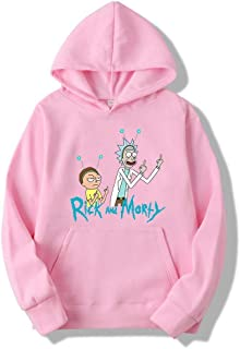 Xjrhbzd Rick And Morty Printing Hedging Sweater Men And Women Casual Hoodie (Color : Pink, Size : S)