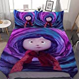Cora-line Cartoon Bedding Sets for Bed 3Pcs Bedding Duvet Cover Decor Twin Size for Kids Adult (1 Cover + 2 Pillowcase)