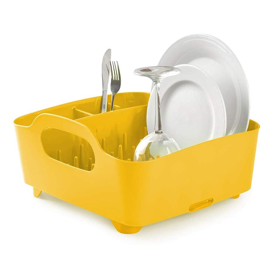 MSF dish rack Dish Rack Plastic Dot Drainer Rack Holder Set, Anti-bacterial Plates Cups Cutlery Rack Organizer,14×13×7 inch (Color : Yellow)