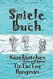 Spielebuch - Dots and Boxes (Käsekästchen) - Tic Tac Toe - Hangman: Für zuhause und unterwegs (120 liebevoll gestaltete Seiten, DIN A5, mit weichem Cover)