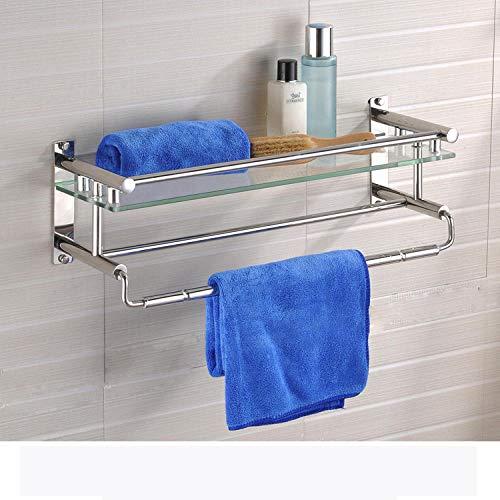 ZY & FC famille salle de bain rangement étagère en verre porte-serviettes en acier inoxydable simple porte-serviettes étagère de salle de bains salle de bains pendentif A-40Cm