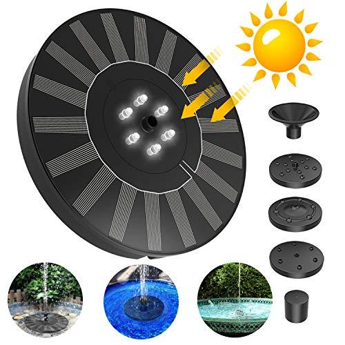 FYLINA Solar Springbrunnen mit LED Licht 2.4W Solar Teichpumpe Outdoor mit Solar Panel Eingebaute Batterie 5 Fontänenstile für Garten Vogel-Bad Teich Fisch-Behälter