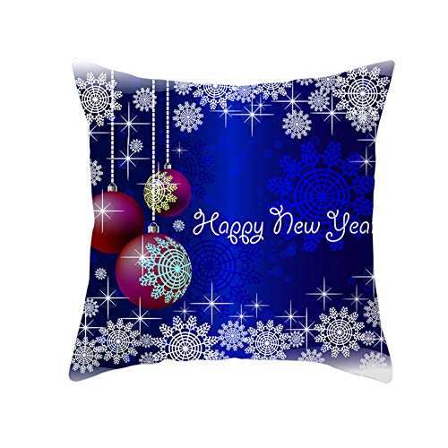 Kongtou Christmas decoration pillowcase, home decoration Christmas pillowcase blue series Christmas hug pillowcase peach skin pillowcase cushion cover 45CM * 45CM