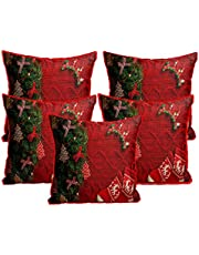Merry Christmas Jute Fabric Cushion Cover (16X16 Inches, Multicolour) -Set of 5