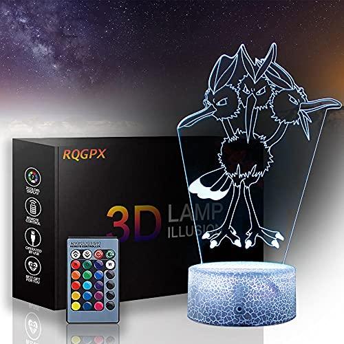 Lámpara 3D Dodrio, lámpara de decoración de 16 colores cambiantes, luz de mesa con carga USB táctil, con control remoto, juguetes de regalo para niños y niñas