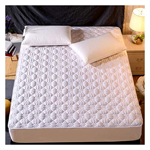YWYW Queen Mattress Cover with Elastic Band Breathable Quilted Mattress Cover suitable for 2-6 inch deep mattress topper, white, B, 90x190 cm (35x75 inch)