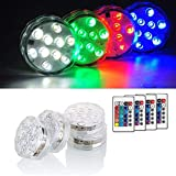 AfooBezos Submersible LED Lights, IP68 Waterproof Multi Color Battery Operated Remote Control...