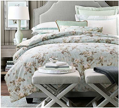 Eikei Home French Country Garden Toile Floral Printed Duvet Quilt Cover Cotton Bedding Set Asian Style Tapestry Pattern Chinoiserie Peony Blossom Tree Branches Multicolored Design (King, Light Blue)