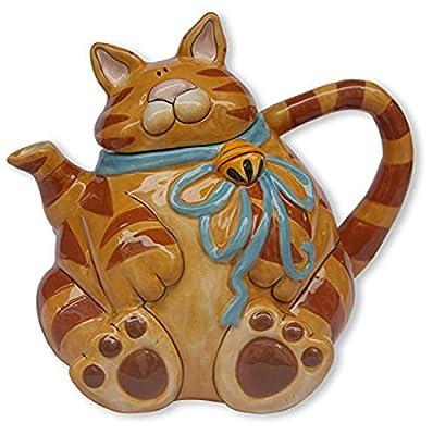 "Blue Sky Ceramic Cat Teapot, 9 x 6.5 x 7.5"", Orange"