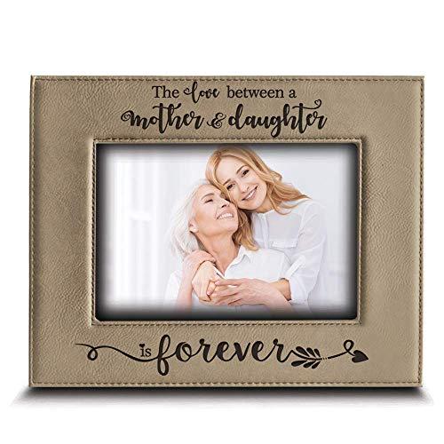 BELLA BUSTA - O amor entre uma mãe e filha é eterno da filha - Presentes para mãe gravados moldura de couro (5 x 7 horizontais)