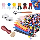 MAKITESY Wax Seal Set, 894pcs Sealing Wax Kit with 760 Sealing Wax Beads, 120 Ribbons, 1 Wax Seal Stamp, 1 Wax Spoon, 10 Vintage Envelopes, 2 Tealight Candles for Christmas Festival Craft Decoration