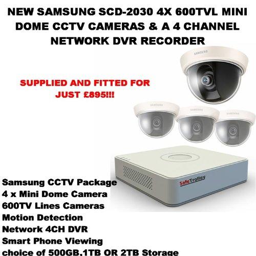 Nuevo Samsung SCD-20304x 600TVL mini domo CCTV Cámaras y una red de 4canales DVR...