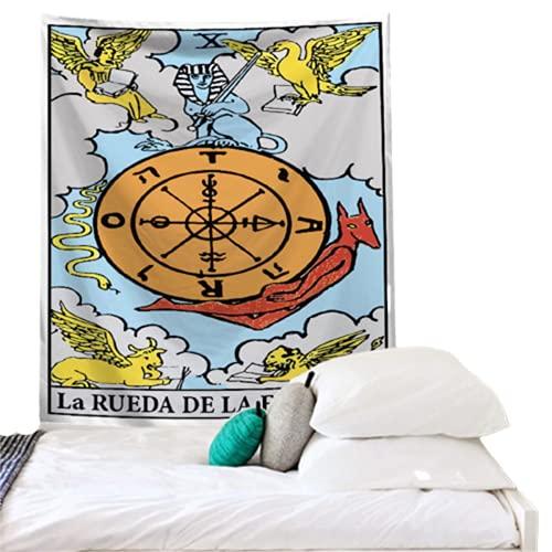 YYRAIN Tapiz De Pared De Patrón Impreso De Estilo De Tarjeta De Tarot Retro Decoración De Pared De Dormitorio Colgante De Pared 37x28 Inch {95x73cm}