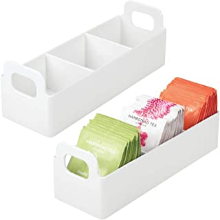 mDesign Plastic Kitchen Pantry, Medicine Cabinet, Countertop, Organizer Storage Station Tea Caddy Holder for Beverage and Tea Bags, Sweetener, Individual Packet Condiments - 9