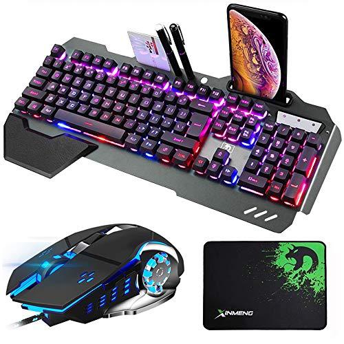 Hoopond combinación de Teclado y ratón con híbrido/RGB 16 Tipos de retroiluminación Teclado de Juego USB de Metal Negro con Soporte de Mano + 3200 PPP Ratón 4 Colores Que Respira + Mouse Pad de PC