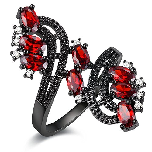 Uloveido Black Plated Wide Flower Ring with Red CZ Stones Created Ruby Diamond Unique Wedding Engagement Promise Jewelry (Red, Size 9) J656