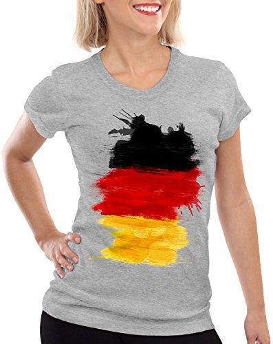 CottonCloud Flagge Deutschland Damen T-Shirt Fußball Sport Germany WM EM Fahne, Farbe:Grau meliert, Größe:S