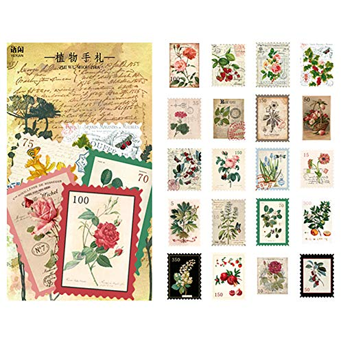 60PCS Large Vintage Plant Flower Sticker Big Washi Sticker Collection Stickers for Scrapbooking Diary Albums Planner Journaling Stationery Decoration