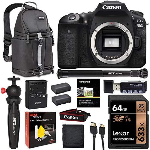 Canon EOS 90D DSLR Camera Body, Lexar 64GB U3 Video Memory Card, Tabletop Tripod, Vivitar Sling Bag, Monopod Plus Cleaning Kit Bundle