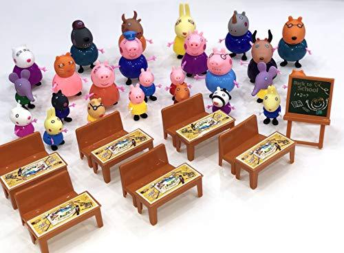 New Brand Peppa Pig Juguetes 25 PCS Different Models Figures, Classroom Set + Bag Best Toys for Kids
