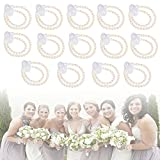 16Pcs Elastic Pearl Wrist Corsage Bands Wristlets Bracelet, Wedding Corsages Pearl Wristlet Bands Bracelet, Handmade Corsage Wristlet Bands Bracelet DIY Decor Accessories for Wedding Prom Beach Party