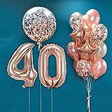 MMTX Decoración para Fiestas de Cumpleaños en Oro Rosa,40 Años de Antigüedad Fiesta,Globos de Confeti,Látex Oro Rosa,Globo de Papel de Aluminio para Niñas y Mujeres
