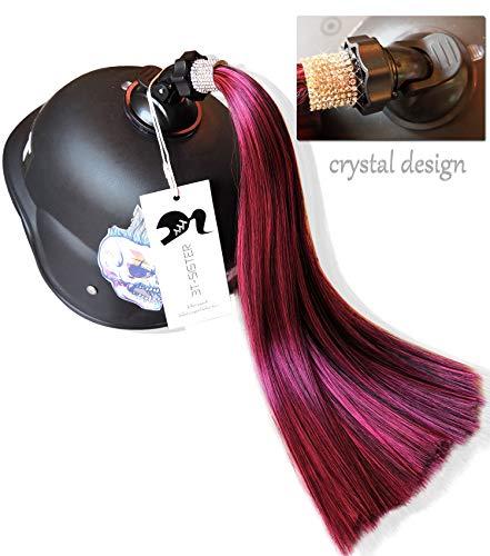 3T-SISTER Kristall Helm Pigtails 14 Zoll Rot gemischt Schwarz Helm Pferdeschwanz Dekoration für Motorrad Fahrrad Ski Helm Zubehör wiederverwendbare Saugnapf