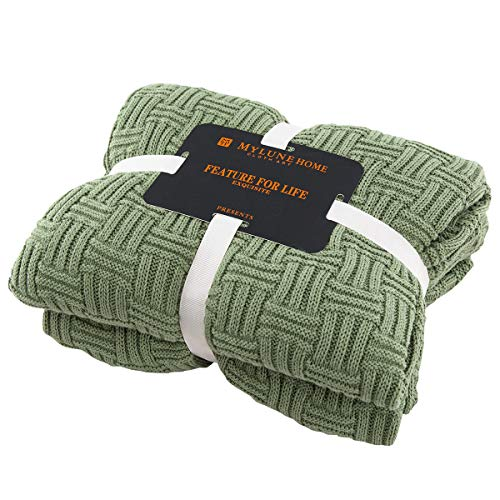 MYLUNE HOME 100prozent Baumwolle Stilvolle Strickdecke für Fernsehen oder Nap auf dem Stuhl, Sofa & Bet (180 x 200 cm, Olive)