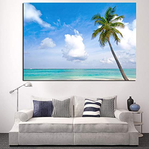 Strand Meer Kokospalme Seestück Landschaft Bild Malerei Leinwand HD-Druck Moderne Wohnzimmer Wandkunst rahmenlose Dekoration Poster A29 60x80cm